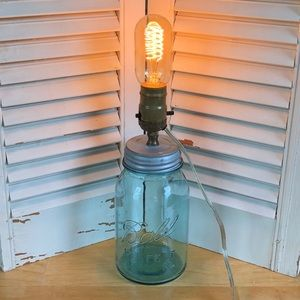 Blue/Green Vintage Ball Mason Jar Light